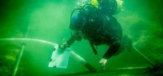 Povandeniniai archeologiniai tyrimai Luokesų ežere. Šaltinis: Vidmantas Balkūnas, 15min.lt nuotrauka