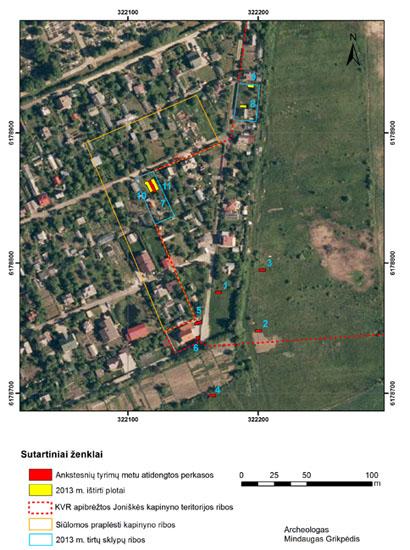 Joniškės kapinynas - situacijos planas
