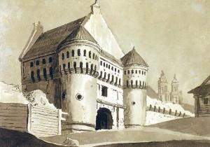 Subačiaus vartai 1785 m. Pranciškaus Smuglevičiaus piešinyje. Šaltinis: http://www.ldm.lt/Ekspozicijos/SmuglP_Subaciaus.htm
