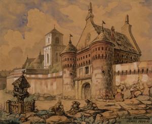 Subačiaus vartai 1896 m. Juozo Kamarausko akvarelėje. Šaltinis: http://www.ldm.lt/VPG/Kamarauskas_virtuali.htm
